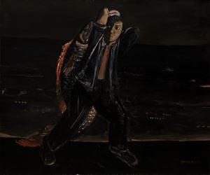 Man Carrying a Fish by Duan Zhengqu contemporary artwork