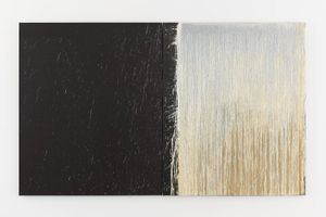 White and Black Diptych with White Splashes by Pat Steir contemporary artwork painting