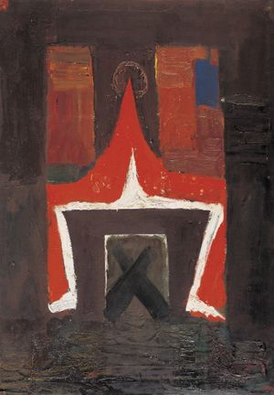 A Red Parent with Square Gate by Mao Xuhui contemporary artwork