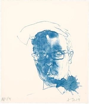Blue Self Portrait 藍色自畫像 by Liu Xiaodong contemporary artwork