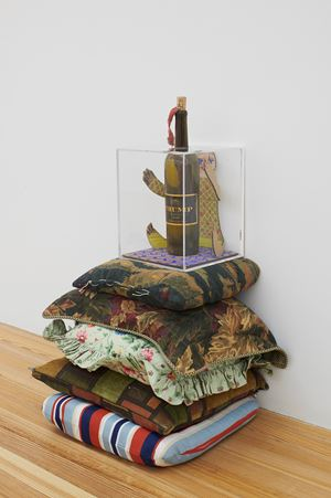 Trump Molotov #2 (on stolen pillow pedestal) by Hadi Fallahpisheh contemporary artwork