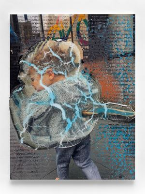 Social Space: Rainbow Signal, Cracked Police Barrier, Boy with Virus Pattern by Seth Price contemporary artwork
