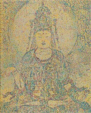 CMYK-The Five Dynasty:Fresco of sitting goddess Guan Yin by Yang Mian contemporary artwork