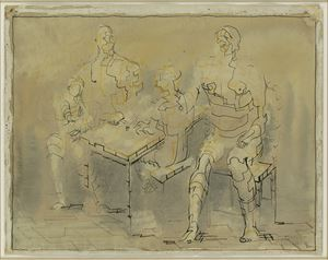Family Group at a Table by Henry Moore contemporary artwork