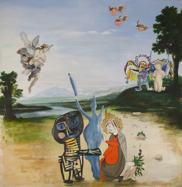 Trois Saintes Vierges assistées par des Anges / Three Holy Virgins attended by angels by Alun Williams contemporary artwork
