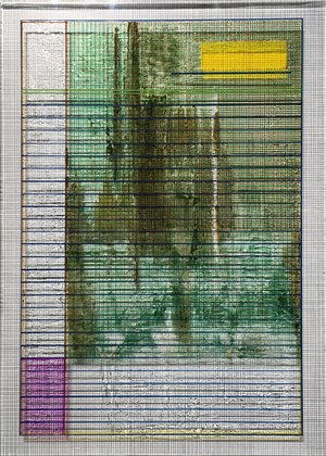 (writing line icon | name line) green purple by Aditya Novali contemporary artwork