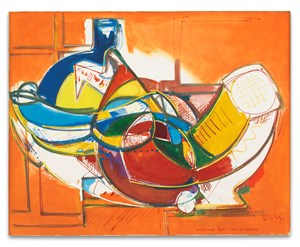 Blue Bottle, Red Round Table [Untitled (Blue Bottle - Red Round Table)] by Hans Hofmann contemporary artwork