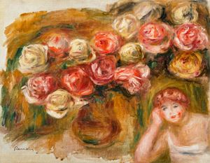 Étude de femme et de fleurs by Pierre-Auguste Renoir contemporary artwork