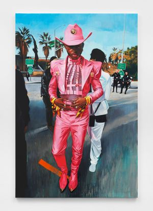 Lil Nas X with Friends and Cops by Sam McKinniss contemporary artwork