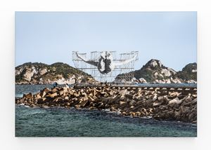 GIANTS, Cleuson LIMA DO ROSARIO from Brazil, Barra da Tijuca, from the beach, © Comité international Olympique, Rio de Janeiro, Brazil by JR contemporary artwork