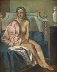 Nu à la veste rose by Balthus contemporary artwork painting
