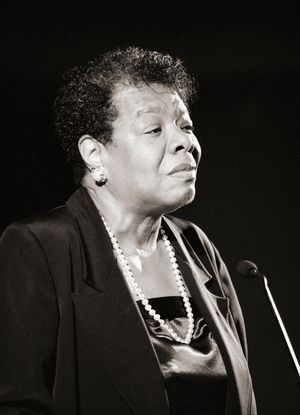 Risk, Risk All   Maya Angelou speaks on her writing process at a conference in New York City, USA by Margaret Courtney-Clarke contemporary artwork