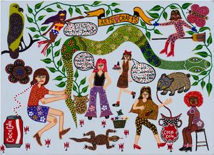 Seven Sistas Part at Iwantja by Kaylene Whiskey contemporary artwork