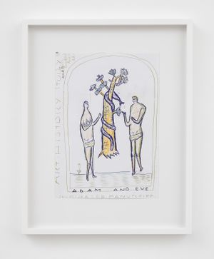 Illuminated Manuscript, working drawing by Rose Wylie contemporary artwork