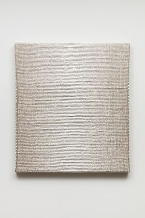 Woven Vertical Reflected Linear Gradient as Weft (Center, White) by Analia Saban contemporary artwork