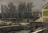 Elizy, Le Vieux pont et l'église en hiver by Bernard Buffet contemporary artwork painting, works on paper