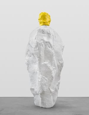 yellow white monk by Ugo Rondinone contemporary artwork