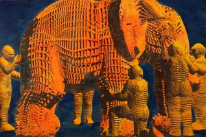 Blind Men and An Elephant (left) by Miao Xiaochun contemporary artwork