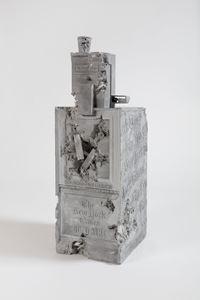 Grey Selenite Newspaper Machine by Daniel Arsham contemporary artwork sculpture