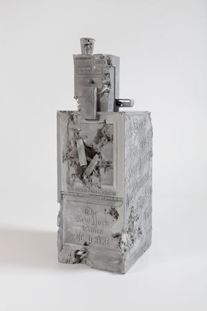 Grey Selenite Newspaper Machine by Daniel Arsham contemporary artwork
