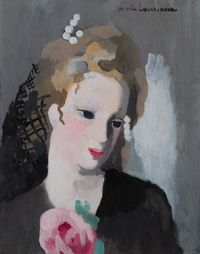 Femme à la rose by Marie Laurencin contemporary artwork painting, works on paper