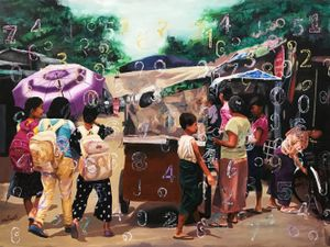 Flying Numbers (21) by Myint San Myint contemporary artwork