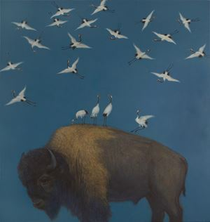Bison and Cranes, After the Emperor Huizong of Song 907 Years Later by Zhang Hongtu contemporary artwork