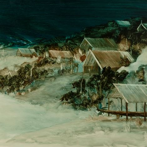 John Walsh, Wharewaka (detail), (2019). Oil on board. Courtesy PAGE Galleries
