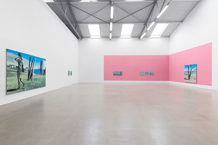 Exhibition view: Marc Desgrandchamps,Die blaue Stunde,Galerie EIGEN + ART, Leipzig (18 May–22 June 2019). Galerie EIGEN + ART, Leipzig. Photo: Uwe Walter.