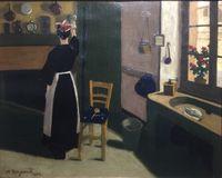 Femme dans son intérieur by Marius Borgeaud contemporary artwork painting, works on paper