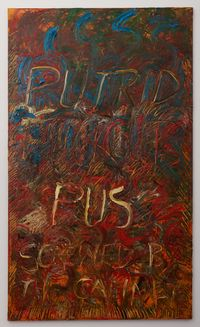Now we've all been screwed by the cabinet by Derek Jarman contemporary artwork painting