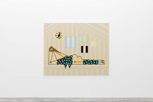 Lying woman with Red Hair by Farah Atassi contemporary artwork