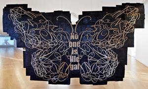 Papillon Monarque (No one is illegal ; Dream, Rise, Organize / Personne n'est illégale ; Rêve, Défend, Organise), Graphic collaboration with Gabrielle Parmentier, Louis Vuitton's Graphic Studio by Andrea Bowers contemporary artwork