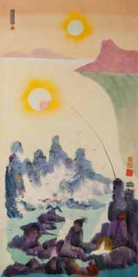 Untitled (Fantasy Landscape with Two Suns) by Luis Chan contemporary artwork works on paper
