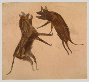 Two Fighting Dogs by Bill Traylor contemporary artwork