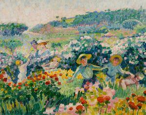 La haie de roses by Henri-Edmond Cross contemporary artwork