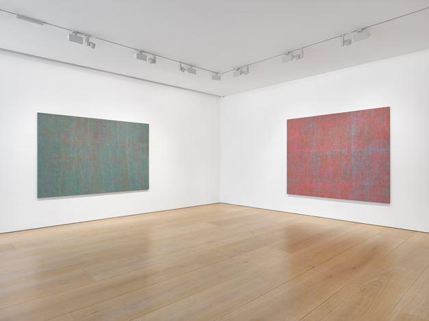 Exhibition view: Howardina Pindell, Victoria Miro, Mayfair, London (5 June–27 July 2019). Courtesy Victoria Miro.
