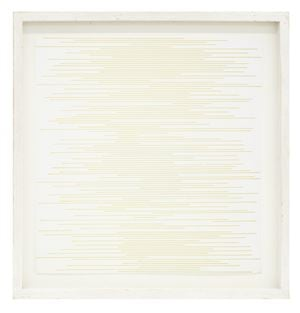 Straight parallel lines of random length not touching sides (yellow) by Sol LeWitt contemporary artwork