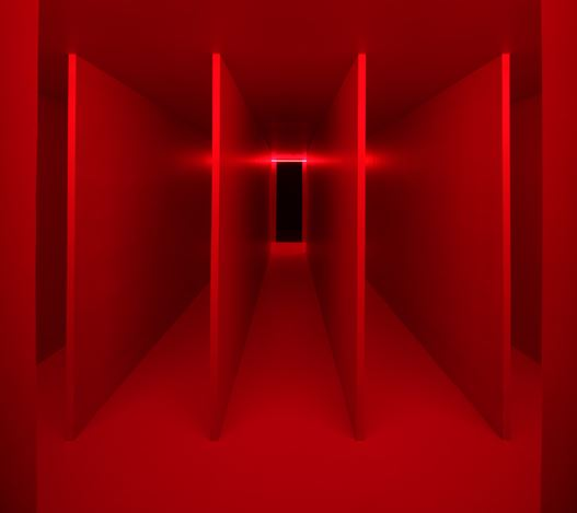 Lucio Fontana,Ambiente spaziale a luce rossa [Spatial Environment in Red Light (1967/2020). Reconstruction authorised by Fondazione Lucio Fontana. Exhibition view: Lucio Fontana,Walking the Space: Spatial Environments, 1948 – 1968, Hauser & Wirth, Los Angeles (13 February–13 September 2020). © Fondazione Lucio Fontana by SIAE 2020. Courtesy Fondazione Lucio Fontana, Milano and Hauser & Wirth. Photo: Fredrik Nilsen.
