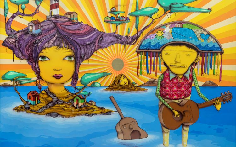 OSGEMEOS, The pretty island (2019) (detail). Mixed media with sequins on MDF board sequins. 189.1 x 279.2 cm. Courtesy the artist and Lehmann Maupin, New York, Hong Kong, and Seoul.