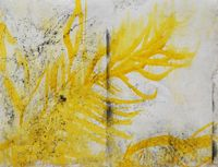 Letter with yellow and charcoal by Chafa Ghaddar contemporary artwork painting