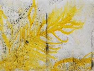 Letter with yellow and charcoal by Chafa Ghaddar contemporary artwork