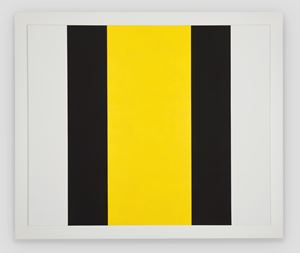 Untitled (Yellow Vertical Band/ Black Bands) by Mary Corse contemporary artwork