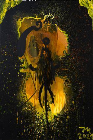 DIE ROHE MABUSIMEESI STRADDIVARRIRRI IM FULLEN DATTELIERZ M! by Jonathan Meese contemporary artwork painting