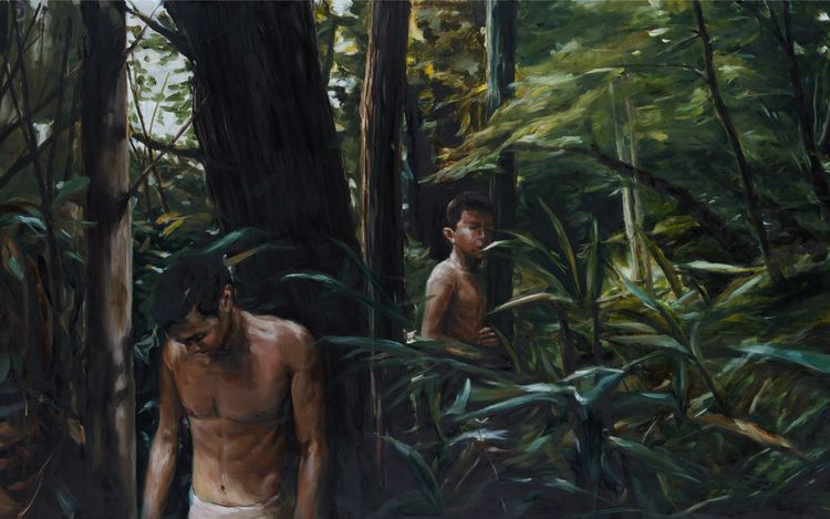 Chen Han, FOREST(detail) (2021). Oil on canvas. 105x140cm. Courtesy HdM Gallery, Beijing.