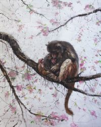 Monkey mom and kid on the tree by Li Tianbing contemporary artwork painting