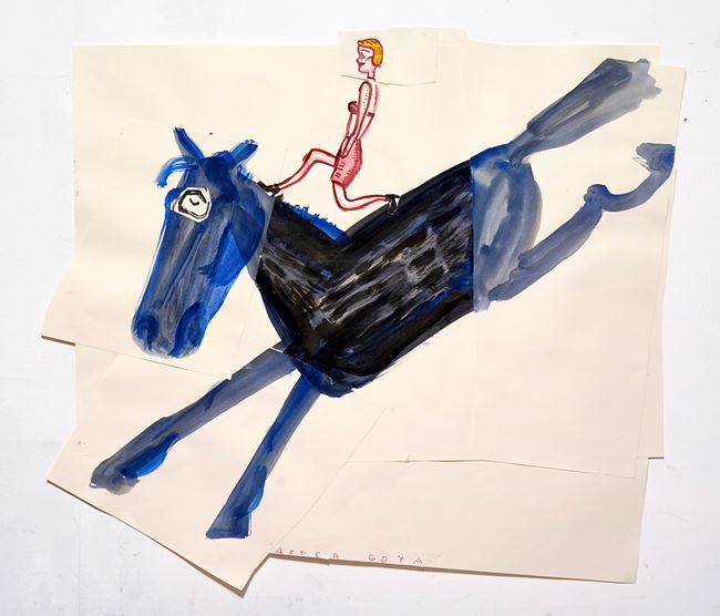 Blue Horse with Girl by Rose Wylie contemporary artwork