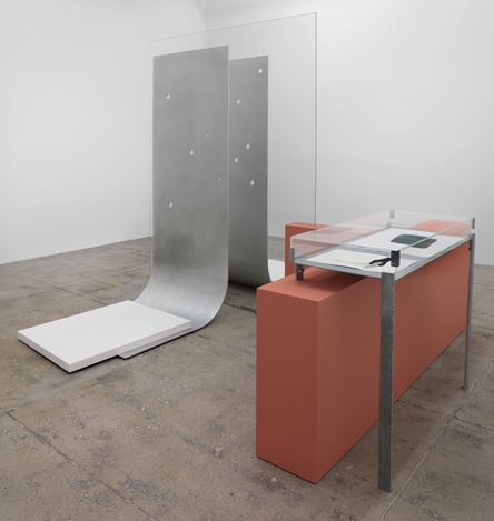 Exhibition view:Nairy Baghramian andJanette Laverrière,Work Desk for An Ambassador's Wife, Marian Goodman Gallery, New York (7 November–20 December 2019). Courtesy Marian Goodman Gallery.