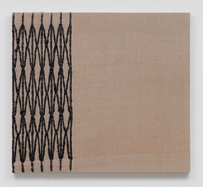 Woven Collapsible Gate, Collapsed (Black) by Analia Saban contemporary artwork