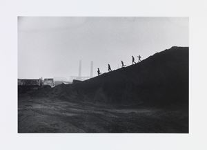 Young schoolboys playing the slag heaps of the steel works, Consett by Don McCullin contemporary artwork